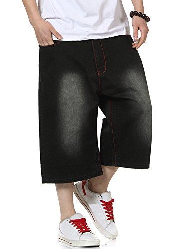 PY-BIGG Plus Size Men's Shorts Jeans Hip Hop Denim Shorts Baggy Simple Plain Black Waist Size 30-46 (42)
