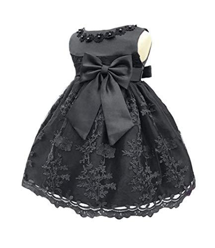 H.X Baby Girl's Newborn Bowknot Gauze Christening Baptism Dress Infant Flower Girls Wedding Dresses 8 Color (18M/13-18 Months, Black)