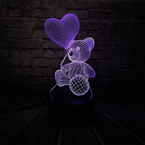 Baby Teddy Bear Home Liebe Herz Ballon 3D USB Led Nachttischlampe Licht Home Home Home Home Home Home Home Kinder Spielzeug Weihnachten GIF T von meiner Seite mit Fernbedienung Kind Geschenk