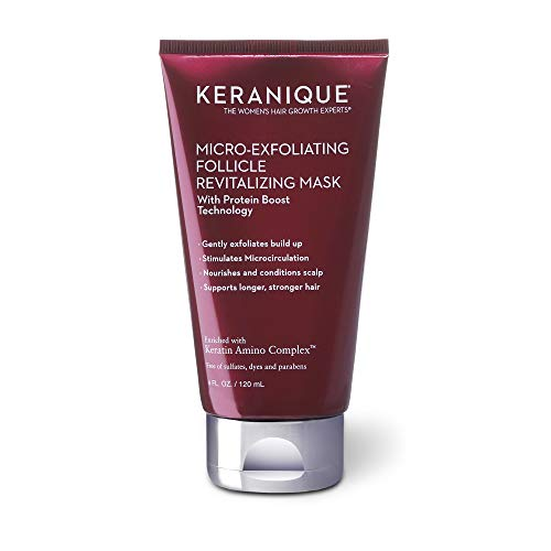 Keranique Micro-Exfoliating Follicle Revitalizing Mask, 4 Fl Oz – Keratin Amino Complex, Sulfate, Dyes and Parabens Free | Exfoliates, Nourish and Condition the Scalp, Supports Longer, Stronger Hair