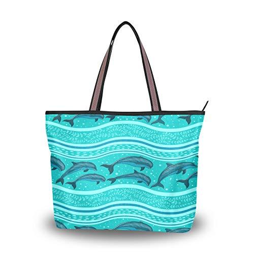 RULYY - Bolso grande para mujer, diseño de delfines del mar, con cremallera, para escuela, trabajo, compras, viajes, color Multicolor, talla Medium
