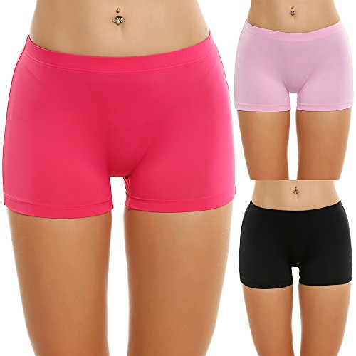 Ekouaer 3er Pack Damen Pantys Unterwäsche Hot Pants Dessous Hipster Boxershorts mit Karo Spitze Schleife, Rosarot EU 42(Herstellergröße: XL)