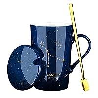 マグカップ、セラミック蓋とスプーン付き12コンステレーションマグコーヒーカップラージマグとウォーターカップ400ml14oz-blue Cancer