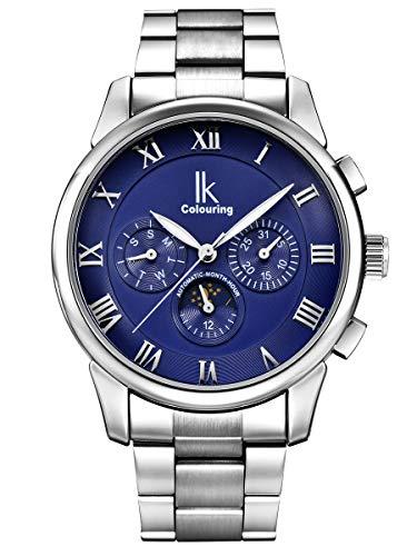 Alienwork Automatikuhr Armbanduhr Herren Damen Silber Edelstahl Metallarmband Kalender blau