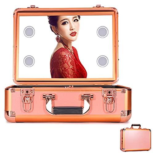 JFF Estuche De Tren De Maquillaje - Estuche Organizador De Cosméticos Estuche De Maquillaje con Luces Y Espejo/Estuche De Maquillaje con Separadores