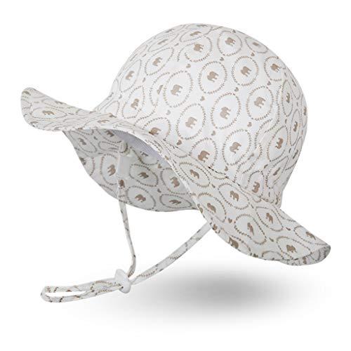 Ami&Li tots Garçon Chapeau de Soleil Réglable Large Bord Chapeau Protection Solaire UPF 50 pour Bébé Fille Garçon Nourrisson Enfants Tout-Petit Unisexe - S : Éléphants Bruns