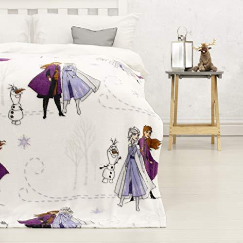 Frozen 2 Manta de Forro Polar con diseño de Elsa & Anna Journey, Blanco, 100 x 150cm