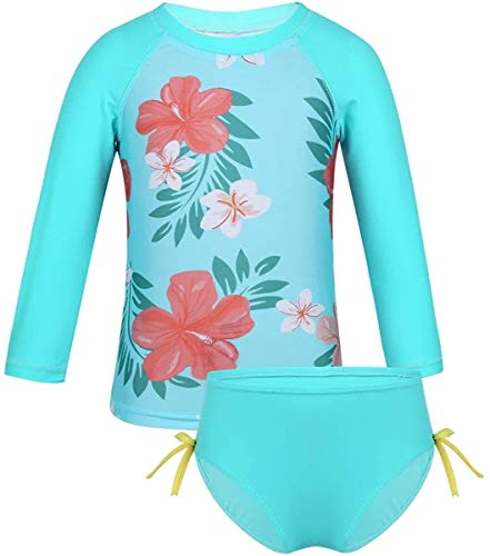 Swimsuit Kids Baby Girls One Piece Zip Rash Guard Vest Shirt Sun Protection Swimwear Wetsuit UPF 50+,Size:5-6 Years,Colour:Palm Printed Pink (Color : 2 Pieces Cyan, Size : 6-12 Months)