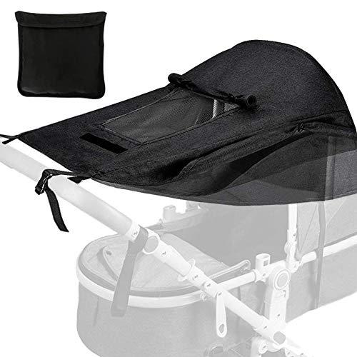 Universal Kinderwagen Sonnensegel,mit UV Schutz 50+ und Wasserdicht,Sonnensegel kinderwagen,verstellbarer Kinderwagen Sonnenschutz,Verstellbar Sonnenschutz für Kinderwagen Buggy(schwarz)