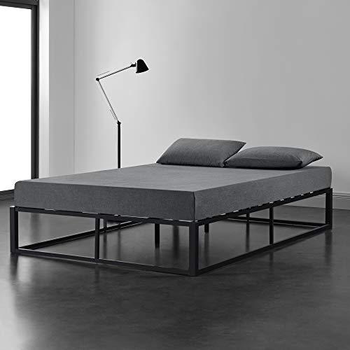 [en.casa] Cama de Metal 160cm x 200cm Estructura Estable con Somier Plataforma de Base Resistente Negro