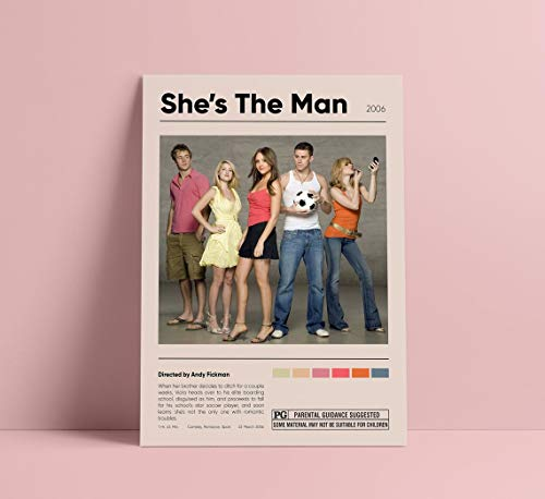 She's The Man 2006 Movie Poster- Digital Downloads   Amanda Bynes, Channing Tatum   Comedy   Movie Poster   Printables 11x17 16x24 24x36 Inch (No Frame)