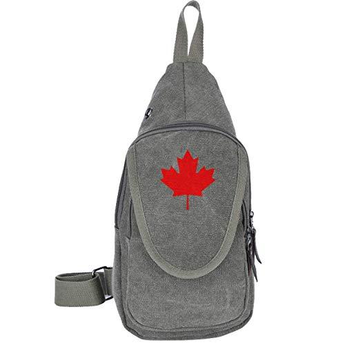 Kanadische Flagge, Ahornblatt, Brusttasche aus Segeltuch, für Camping, Wandern, Rucksack, Diebstahlschutz, für Männer und Frauen, Schwarz