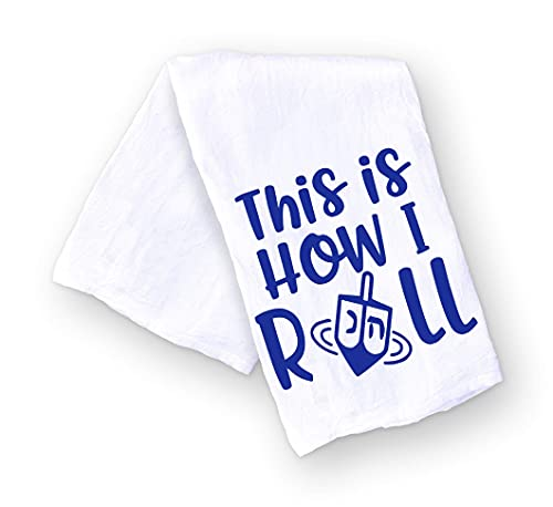 Funny Hanukkah Kitchen Towel, This is How I Roll, Dreidel Pun Towel, Housewarming and Hostess Gift for the Holidays