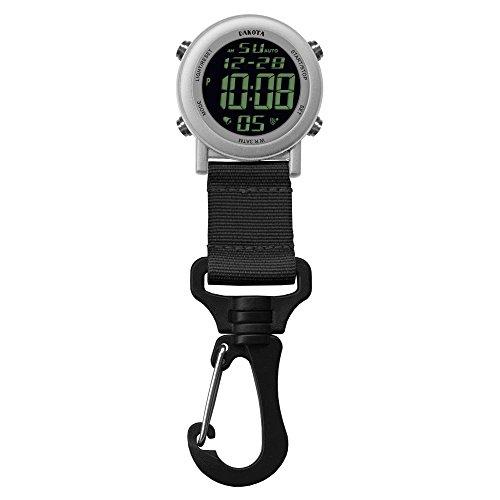 28812 Dakota Digital Backpacker Carabiner Clip Watch Silver