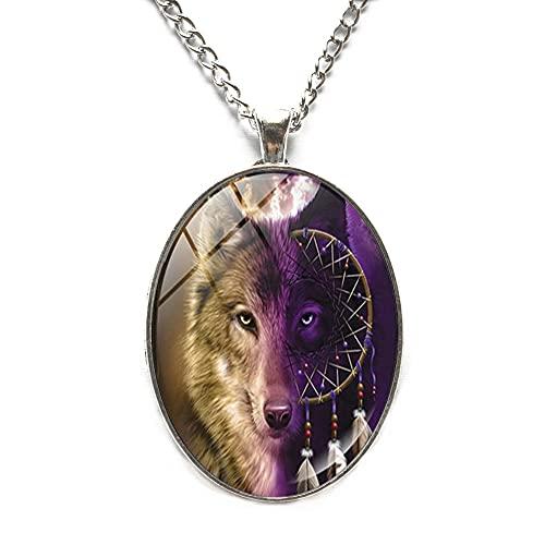 Colgante de atrapasueños, collar de lobo, colgante de joyería de impresión artística de cristal, collar de animales, atrapasueños joyería de azulejos de vidrio, collar de atrapasueños JV121