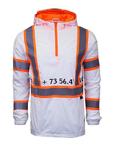SCREENSHOTBRAND-S51008 Lightweight Hooded Water Resistant Windbreaker - Reflective Tapes Pullover Wind Rain Jacket-White-Medium