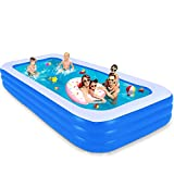 Inflatable Swimming Pool, 120 x 72 x 22 inches Family Full-sized Lounge Pool, Rectangular Blow Up Pool for, Kiddie, Toddlers, Adults
