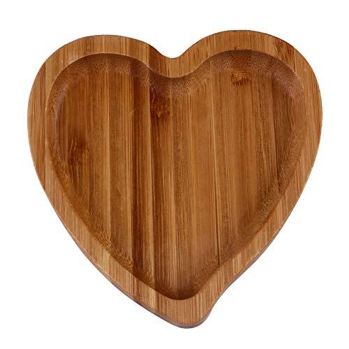 Veemoon Bandeja de Madera en Forma de Corazón Plato de Bambú Fruta Snack Bandeja Plato de Almacenamiento de Joyas Bandeja Hogar Restaurante Navidad Día de San Valentín Decoración de Mesa