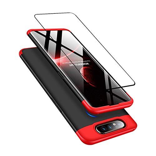 DECHYI kompatibel mit Samsung Galaxy A80 Hülle, handyhülle + panzerglas 360 Grad Schutz Matte PC Hard Cover Körperschutz Kratzfeste Abdeckung 360°Voll Staubschutz case Rot-Schwarz