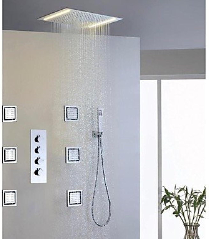 Duscharmaturen - Zeitgenssisch - LED Regendusche Seitendüse Handdusche inklusive - Messing ( Chrom )