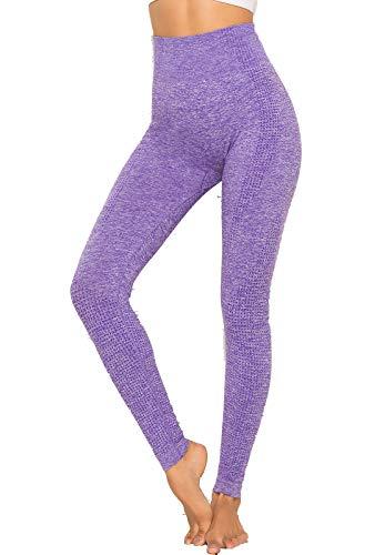 FITTOO Collant Running Femme Legging Sport Motif Jacquard Impréssion 3D Pantalon Sans Couture Pour Fitness Gym Yoga Violet S