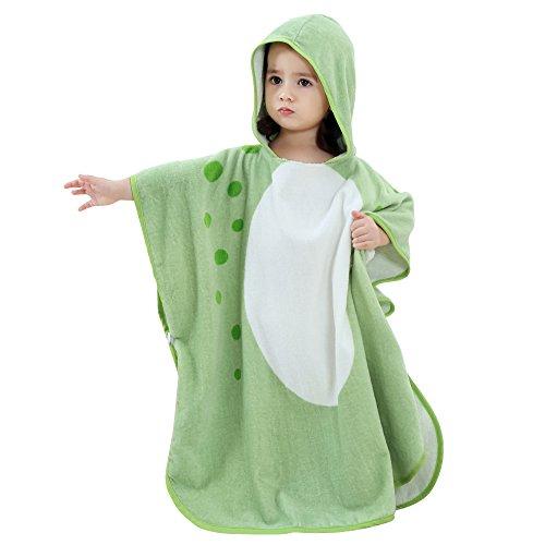 ele ELEOPTION Poncho de Serviette de Plage à Capuchon pour Enfants, Serviette de Bain pour Enfants, Serviette de Bain en Microfibre, léger, idéal pour Les garçons Filles de 1 à 7 Ans (Vert)