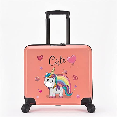 FGHHJ Equipaje para niños de 18 Pulgadas, Muchacha, niña, pequeña Maleta, Equipaje de Viaje con 4 Ruedas, cartón, Carcasa Dura, Peso Ligero,Pink Cute Horse