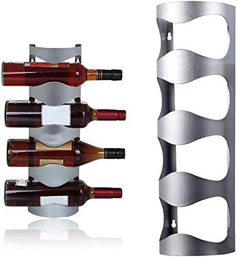 RYKJ-F Estantes para Vino De Montaje En Pared para Botellas De Vino, Estante Vino Acero Inoxidable 4 Botellas Soporte Vino De Metal Plateado Colgar Cocina Restaurante Bar Soporte De Exhibición