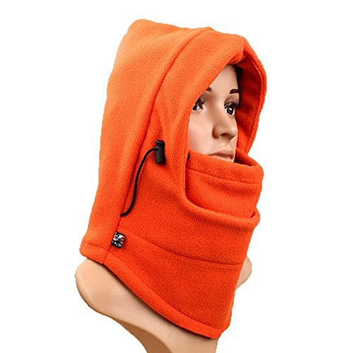 Eforstore 6 in 1 Thermal Fleece Balaclava Hat Hood Police Swat Ski Bike Wind Stopper Face Mask New Caps Neck Warmer (Orange)