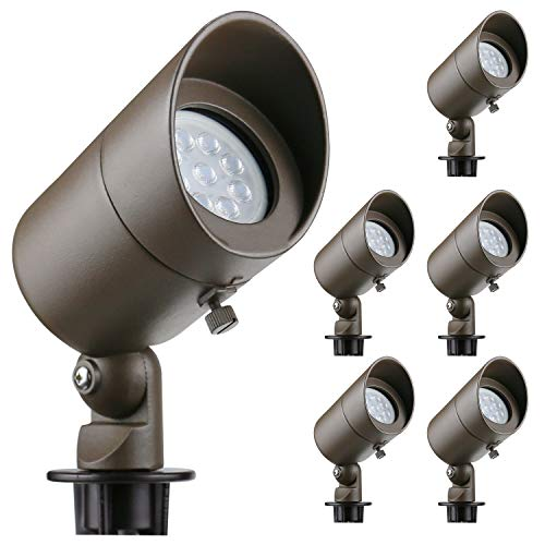 Lumina 4W LED Landscape Lights Cast-Aluminum Waterproof Outdoor Low Voltage Spotlights for Walls Trees Flags Light with Warm White 4W MR16 LED Bulb and ABS Ground Stake Bronze SFL0101-BZLED6 (6PK)