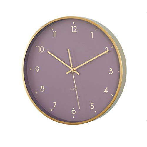 MANLADA-1 Retro Wanduhr, Bonbonfarbenen Zifferblatt goldenen Zeiger Wanduhr Kreative Wanduhr Industrie Wind Wanduhr (Color : Purple, Size : 35.5 * 35.5cm)