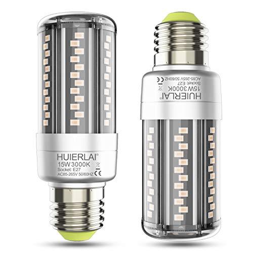 E27 LED 15W Warmweiß Led E27 Mais Lampe 3000K 1700LM Entspricht Glühbirnen 120W, Edison Schraube E27 Mais Led Birne E27 Maiskolben Led Lampen Led Energiesparlampe Birnen E27 Nicht Dimmbar, 2er-Pack