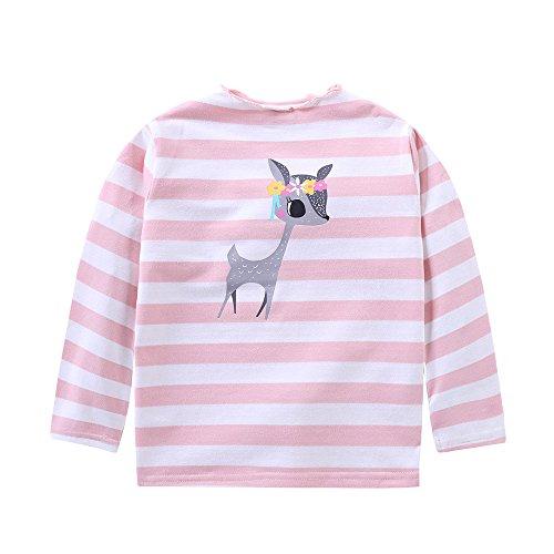 BUKINIE Bambin Bébé Filles Garçons Stripe Vêtements Mignon de Bande Dessinée Cerf Imprimé À Manches Longues Bande Pullover Chemises Tops 2-7 T(Rose,6-7 Ans)