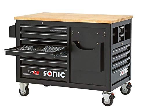 Sonic Werkstattwagen S13 Holzarbeitsplatte Farbe schwarz