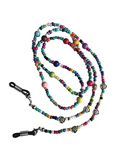 Suneast Soporte de cadena para gafas, diseño de flores, antideslizante, correa de metal, correa para gafas de sol, cordón para el cuello de la espectácula, retenedor de cordón para gafas, 70 cm