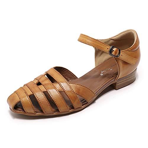 Mona flying Women Leather Tatianna Dress Sandals Closed Toe Low...