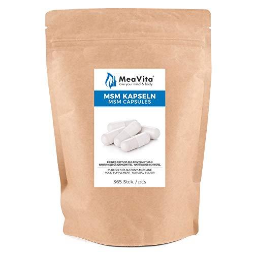 MeaVita MSM Kapseln, 365 Stück (1000mg pro Kapsel) vegan & ohne Zusätze, Methylsulfonylmethan, organischer Schwefel