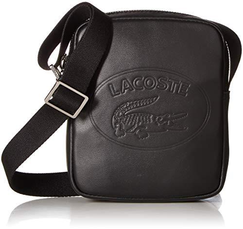 Lacoste Men's Leather Mini Vertical Camera Bag with Badge Logo, black, 00