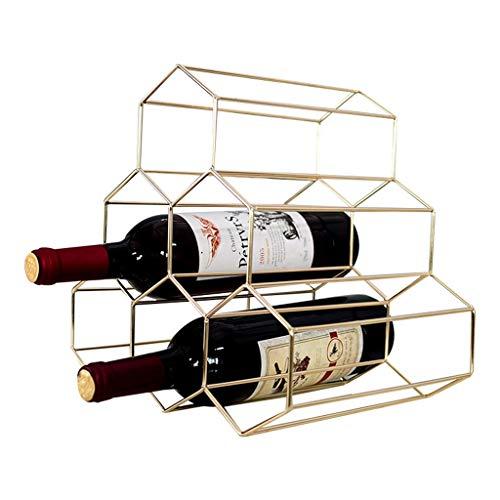 Siempre insiste en el éxito Simple Oro Forjado Estante del Vino del Estante del Panal Creativo Estante del Vino Restaurante En Casa Gabinete del Vino Adornos Prácticos