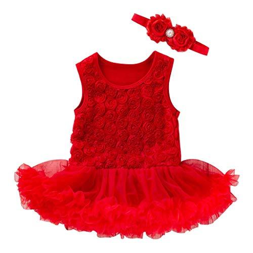 Moneycom Toddler Babygirls Blumenkleid, ärmellos, mit Haarband, Junp, Kleid für Geburtstag, Tüll, für Hochzeit, Rosa, Rot, Weiß, Blau Gr. 0-3 Monate, rot
