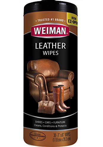 Weiman Wipes-Non Toxic Clean Condition UV Protection Help Prevent Cracking or Fading of Leather Couches, Car Seats, Shoes, Purses, Clear, 30 Count