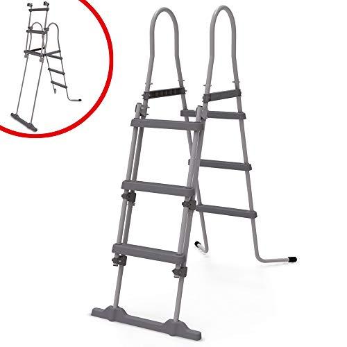Hecht Sicherheitsleiter – Poolleiter/Einstiegsleiter mit Sicherheits Stufen aus rutschfestem Kunststoff und Kindersicherung – für Aufstellbecken bis 107 cm Höhe – Stabile Stahlrohrkonstruktion Pool