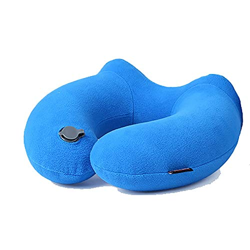 LZZ Almohada De Viaje Hinchable Cojín Inflable del Cuello De El Material De Lana Cómodo Se Puede Lavar A Máquina En El Interior del Automóvil De La Lavadora (Color : Blue, Size : 31cm*30.5cm)