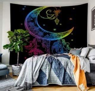 KHKJ Tapiz Colgante de Pared Bohemio Calavera León Luna atrapasueños Tapiz Decorativo para Sala de Estar Dormitorio A3 150x130cm