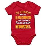 Shirtracer Sprüche Baby - Ich versuche Mich zu benehmen Aber ich komme nach Meinem Onkel orange - 3/6 Monate - Rot - Baby Bekleidung Junge lustig - BZ10 - Baby Body Kurzarm für Jungen und Mädchen