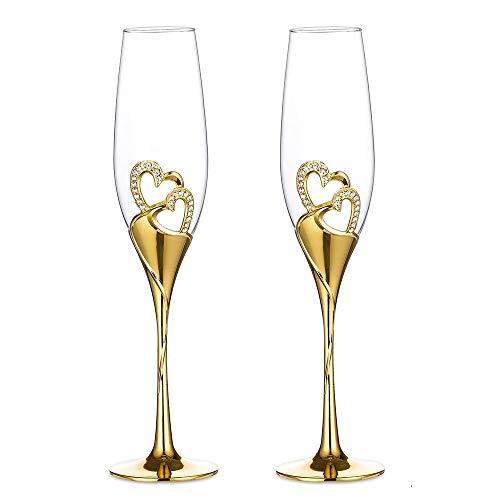 Sziqiqi 2-delad kreativ champagneglas set bröllop kristallglas hjärtformade bröllop champagne gåva klippta glasögon, guld