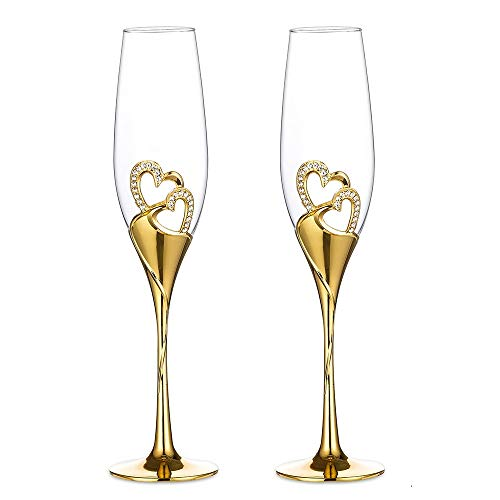Szqiqi 2-Piece Wedding Champagne Glass Set Flute Glasses Wine Glass for Wedding Wedding Gift Glasses (Gold Champagne Glasses 1#)