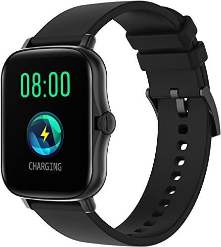 Smartwatch Bluetooth Fitness Tracker Sport Armbanduhr Kamera Schrittzähler Schlaftracker Blutdruck Herzfrequenz für iOS Android Schwarz Sportuhr Touch Farbbildschirm