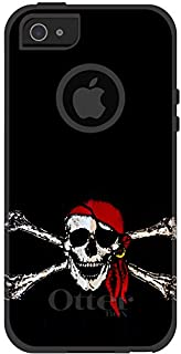 DistinctInk Case for iPhone 5 / 5S / SE - OtterBox Commuter Black Custom Case - Black Red Pirate Flag