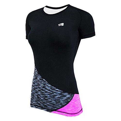 ROUGH RADICAL Damen Funktionsshirt T-Shirt Laufshirt Reaction (L, schwarz/grau/pink)